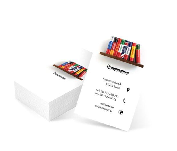 Regal mit Wörterbüchern, Bildung, Lernen von Fremdsprachen - Visitenkarten Netprint Online Vorlagen