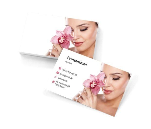 Frau mit Blume, Gesundheit und Schönheit, Schönheitssalon - Visitenkarten Netprint Online Vorlagen