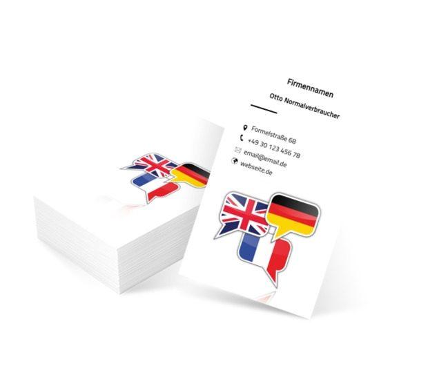 Sprechblasen mit Flaggen, Bildung, Lernen von Fremdsprachen - Visitenkarten Netprint Online Vorlagen