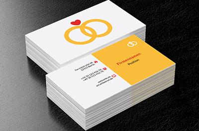 Papier Herz Hochzeitshalle Visitenkarten Netprints