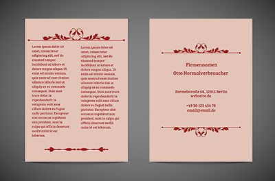 Ornament in einer rosa Farbe, Motive, klassiche - Flyer Netprint