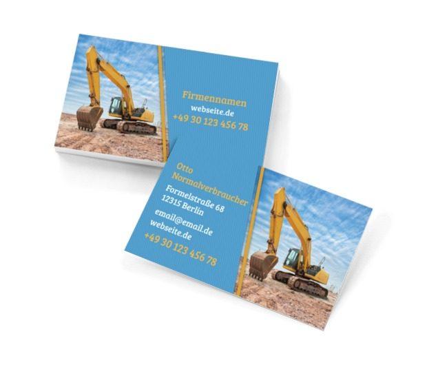 Professionelle Erdarbeiten, Bauwesen, Baufirma - Visitenkarten Netprint Online Vorlagen